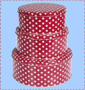 Red and white polka dot cake tins
