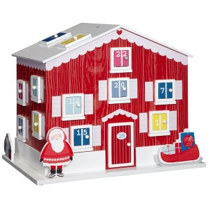 Wood wooden advent calendar house