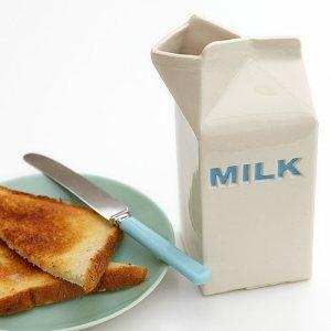 Ceramic milk carton jug