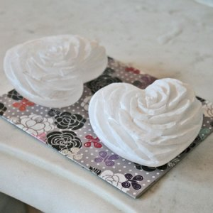 White alabaster stone rose heart ornament