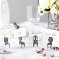 Mini pewter chair placecard holders