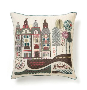 Embroidered rustic street cushion cover