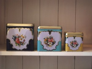 Decorative floral storage tins
