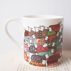 Mary Kilvert colourful sheep design mug