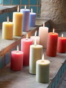 Colourful pillar candles home accessories