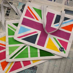 Colourful Union Jack shopper bag