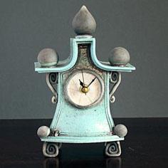 Quirky handmade ceramic mantel clock by Ian Roberts