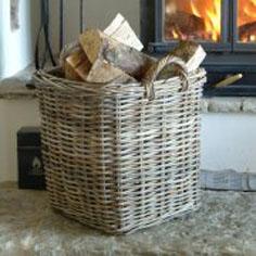 Willow and Stone stylish round rattan log storage basket