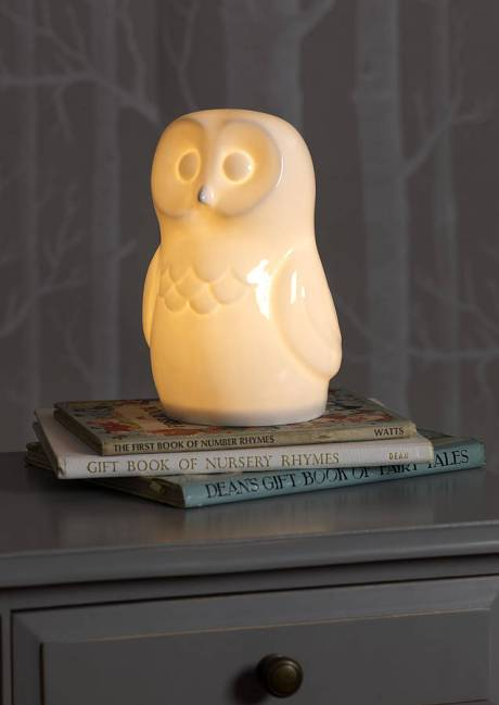 Cute white bone china owl lamp from White Rabbit England