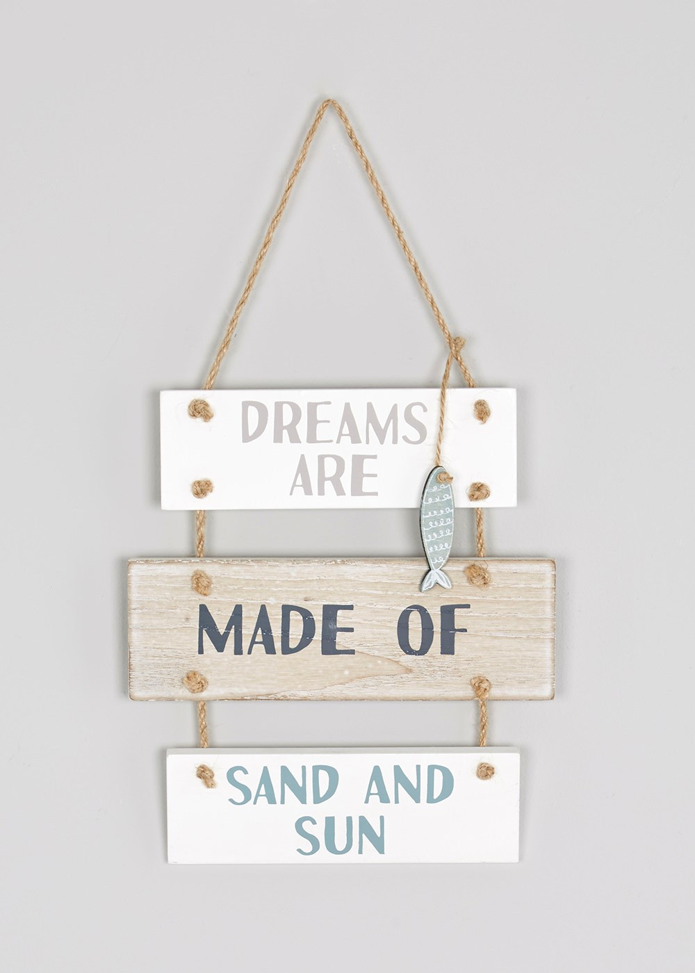 Three tier wooden hanging beach inspired home accessory