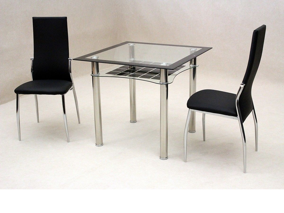 small square clear black glass dining table and 2 chairs set