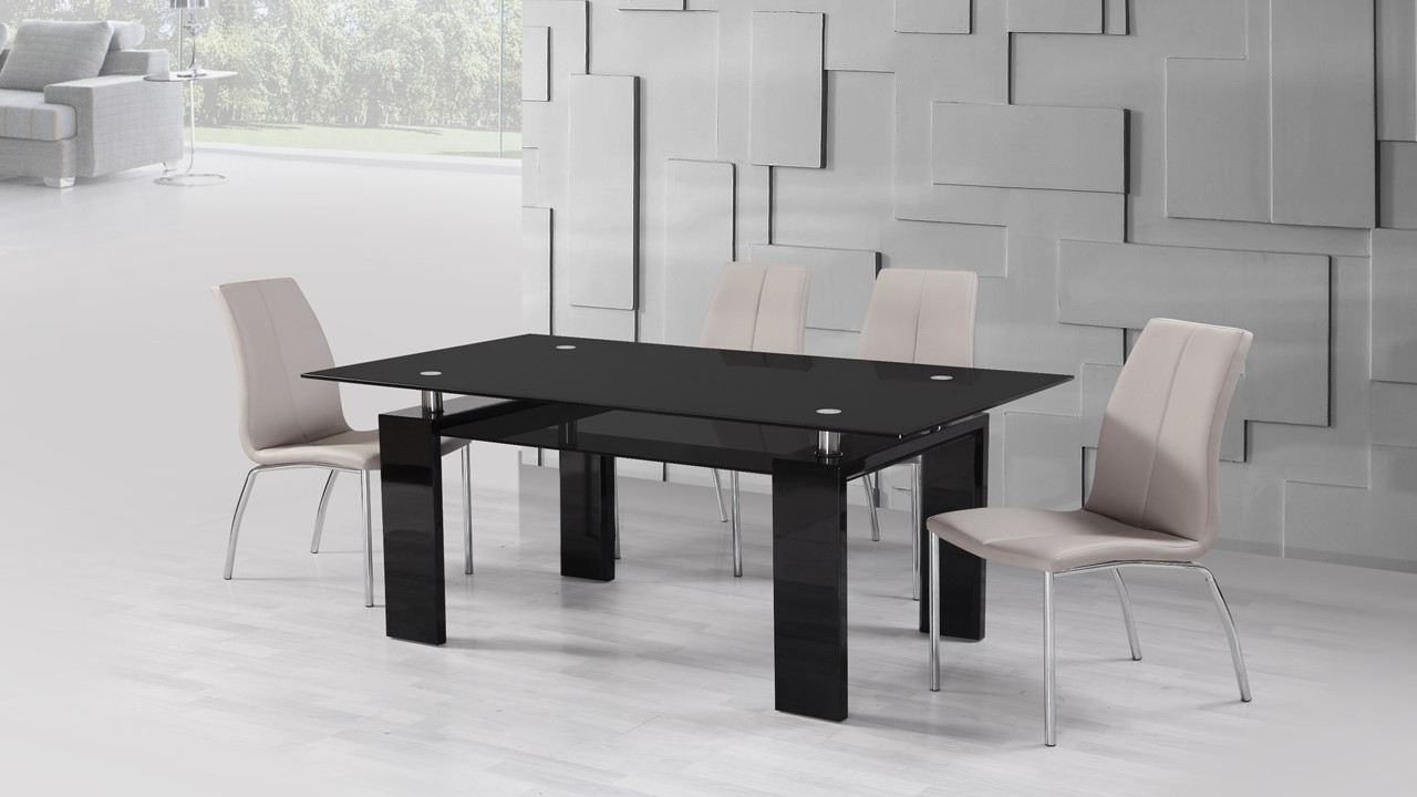 Black Glass High Gloss Dining Table And 4 Mink Grey Chairs