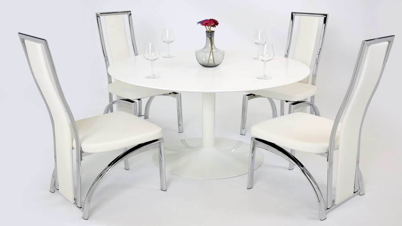 White Gloss Dining Table And 4 Chairs Homegenies