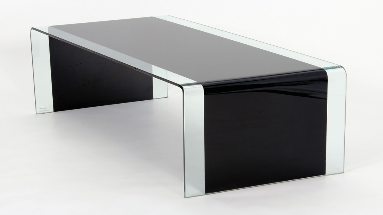curved black glass coffee table or lamp table nest of tables