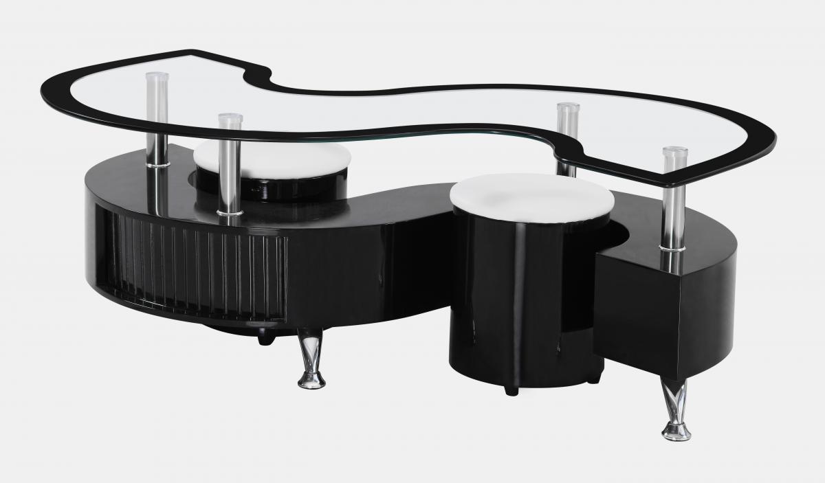 s shaped glass high gloss coffee table 2 stools