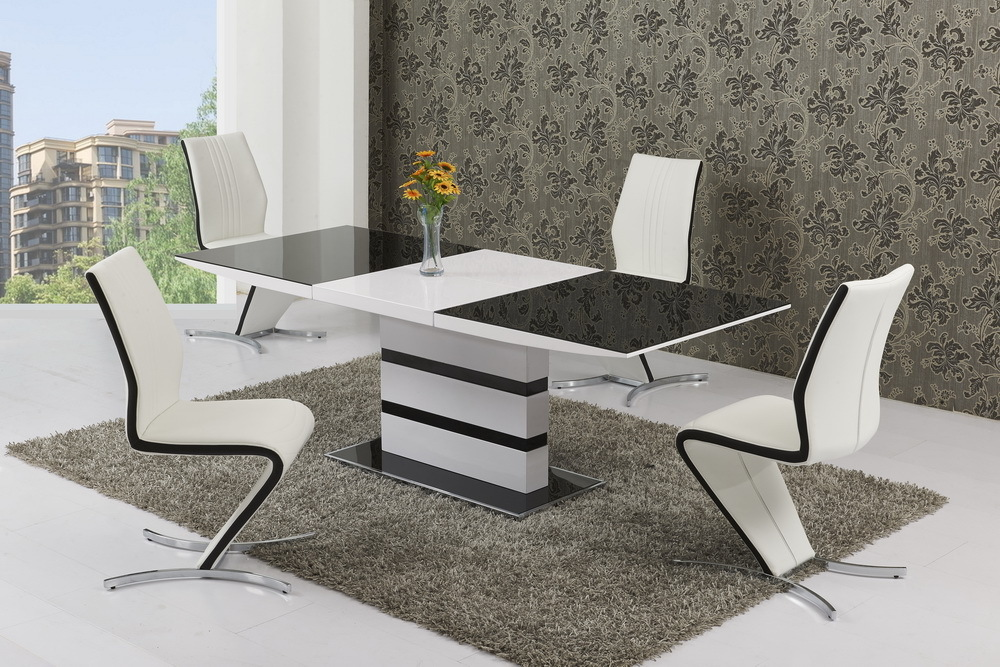 Black Glass White High Gloss Extendable Dining Table And 8