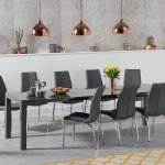 Large Dark Grey High Gloss Dining Table 10 Chairs Homegenies