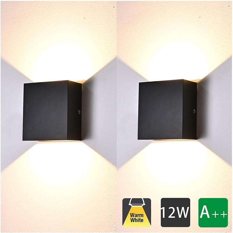 12w moderne applique murale interieur 2 pcs aluminium led lampe murale blanc chaud 3000k appareils d eclairage pour le salon chambre salle de