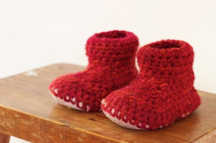 Crochet Slipper Boots With Sheepskin Sole 1 Year Old Homegrown