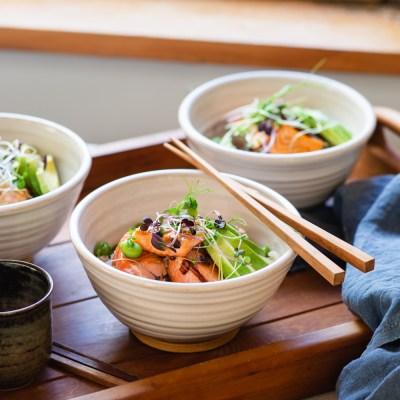 SUSHI BOWLS WITH TERIYAKI SALMON+ Perfect Cooked Brown Rice