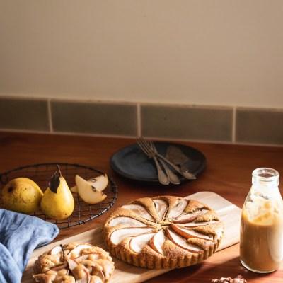 PEAR &HAZELNUT FRANGIPANE (Crust-less) TART + Salted Caramel Pear Sauce