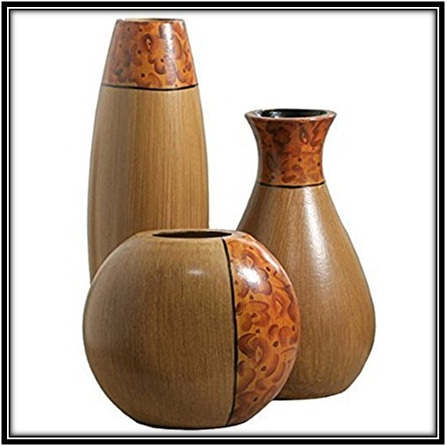 Elegant look through burlwood vases - home decor ideas