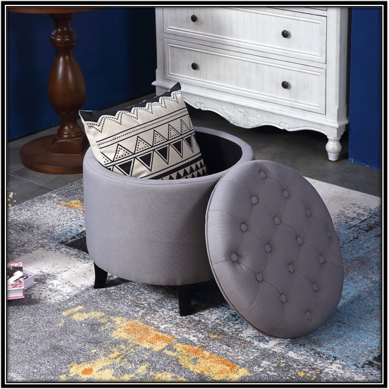 Round Tufted Ottoman for the perfect living room - home decor ideas