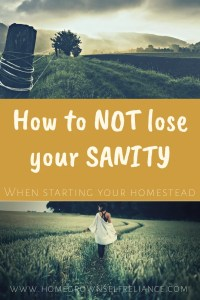 How to NOT lose your sanity when starting your homestead. This post has some of my best tips for starting your own homestead. Read it to find out how to not go crazy!