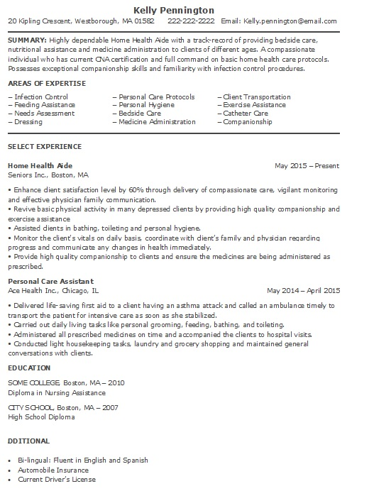 home health aide resume sample resume sample