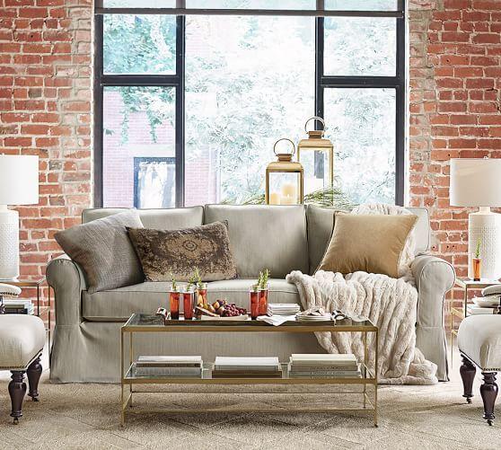Brick Life Idea For A Pottery Barn Living Room. ...
