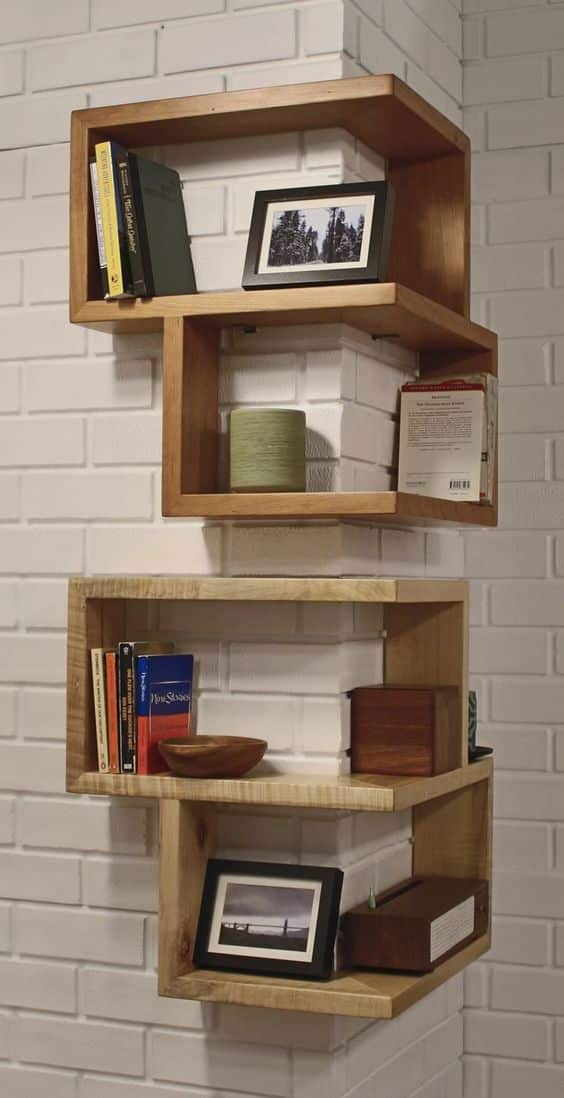 The corner wall liner bookshelf idea for small rooms. ...