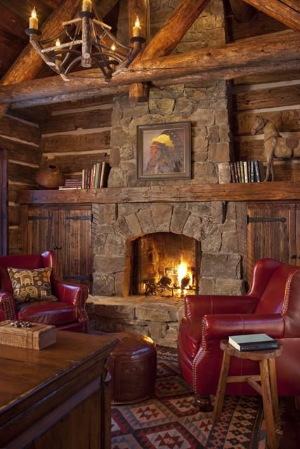 Traditional Rustic Bohemian ideas for a cobblestone fireplace.