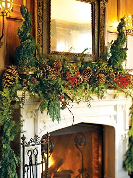 Forest Ideas For Decorating A Holiday Fireplace Mantel.