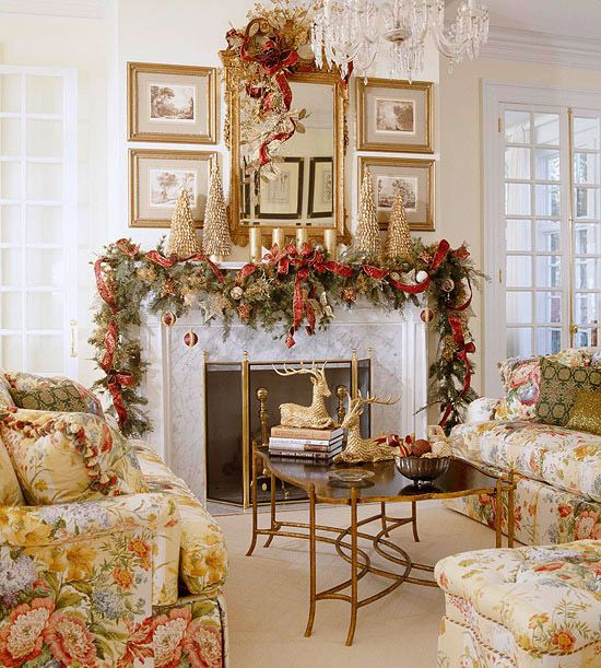 holiday fireplace mantel decorating ideas 6