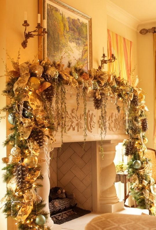 holiday fireplace mantel decorating ideas 8