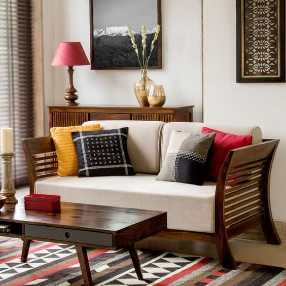 Wooden Furniture For An Indian Styled Living Room. Living Room Designs ...