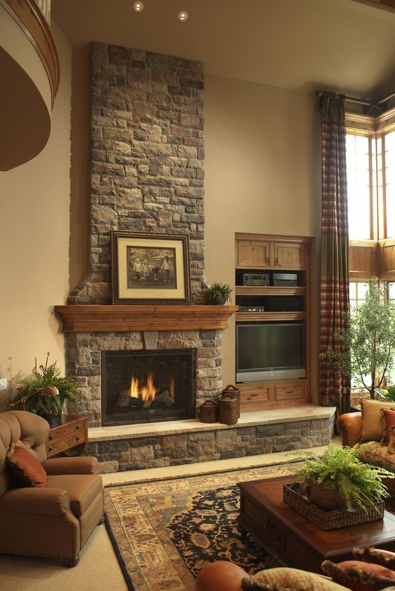 Fireplace beside a tv layout for a living room
