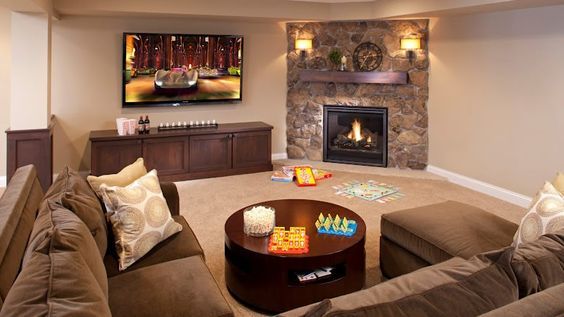 Attractive Corner Fireplace Beside A TV Layout. Living Room ...