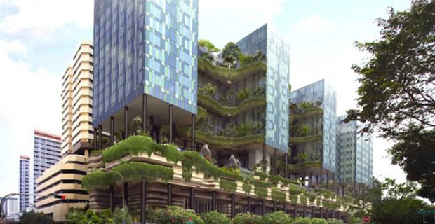 Another artist rendering, most of the 15000 square meters of green space disguise the parking decks