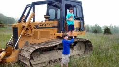 First day, climbing on the dozer before anything was disturbed