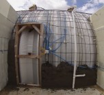 Note, I didn't cut the doorway out of the quonset until the shotcrete had set.