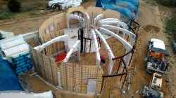 Airial view of the shotcrete equipment setup and our formwork.