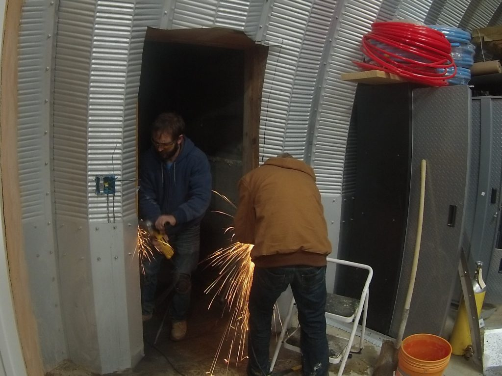 Cutting A Side Door In The Quonset Hut Home In The Earth
