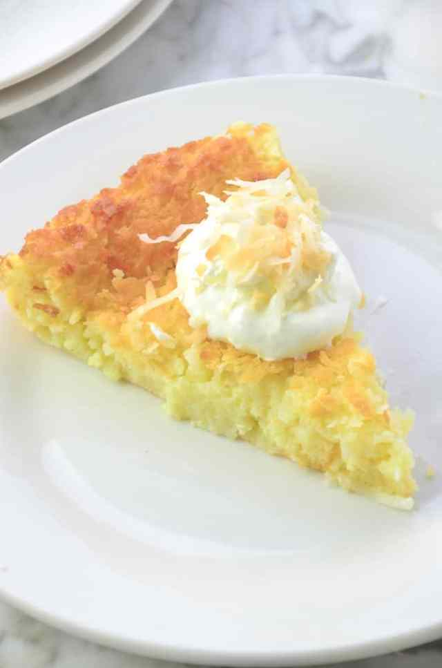 Coconut Impossible Pie, made with homemade bisquick substitute
