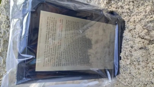 Kindle inside a Ziploc Bag