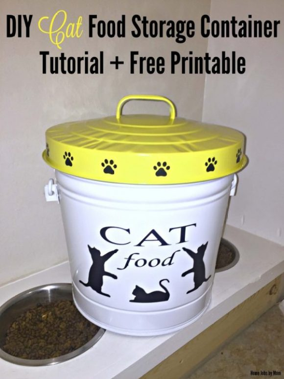 DIY Cat Food Storage Container Tutorial + Free Printable