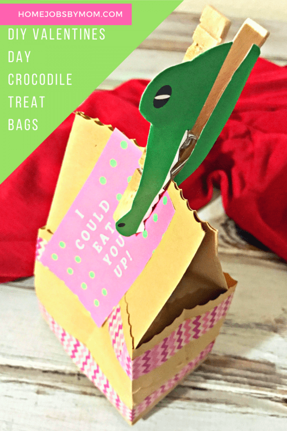 DIY Valentines Day Crocodile Treat Bags