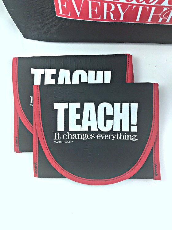 Teacher Peach Teach It Changes Everything Reusable Snack Bags with Velcro
