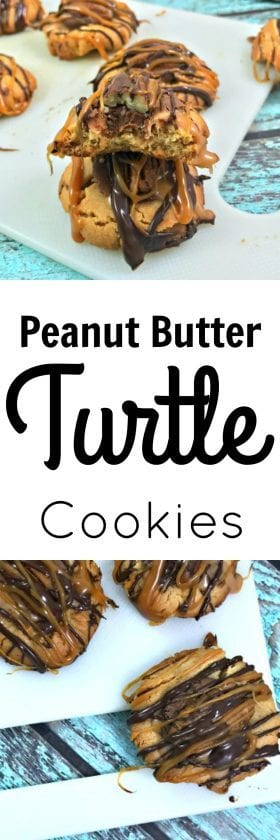 turtle cookies rolo, peanut butter turtle cookies, turtle cookies recipe caramel pecan, turtle cookies recipe, homemade cookies, peanutbutter cookies, thumbprint cookies, best cookies, easy cookies, cookies recipes easy, cookies recipes, Peanut Butter, Turtle, Cookies, peanut butter cookies, cookie, turtles, caramel, chocolate, buckeyes, desserts, dessert, cookies ideas,