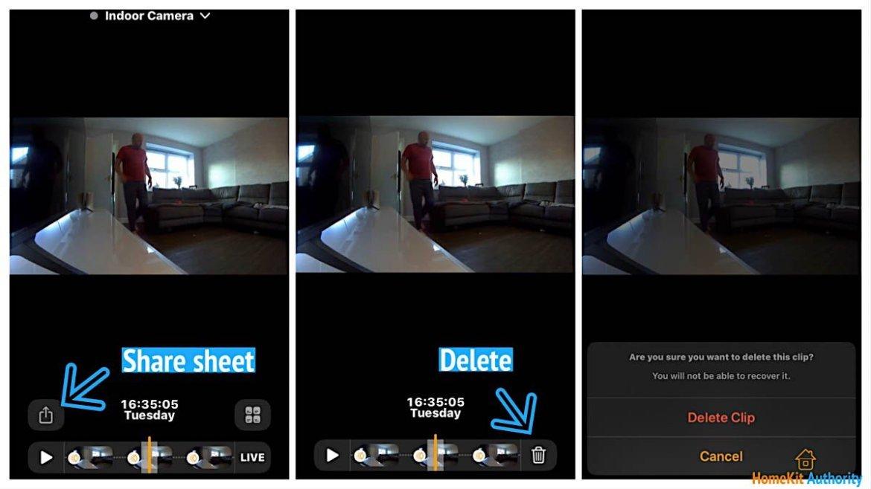 HomeKit Secure Video delete video clip